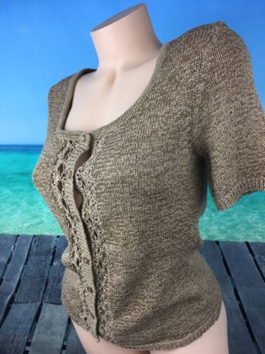 a65e4e9373 Cable   Gauge Womens Sweater Sz S Dark Tan Short Sleeve Button Up Open  Weave A09