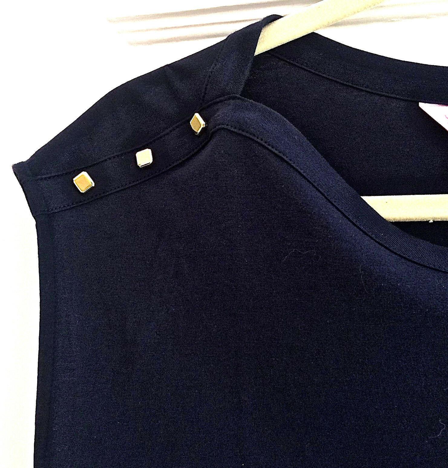 Lilly Pulitzer Sz M Robyn Sleeveless Shift Dress True Navy 6 Gold Buttons EUC image 10
