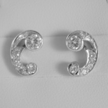 18K WHITE GOLD CURVE EARRINGS WITH DIAMOND DIAMONDS 0.70 CARATS MADE IN ITALY image 1
