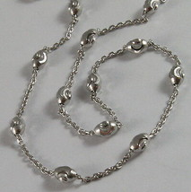 SOLID 18K WHITE GOLD CHAIN NECKLACE FACETED MINI BALLS LINK 15.75 MADE IN ITALY image 1