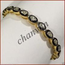 Antique Vintage Look 4.20Ct Uncut Polky Diamond 92.5%  Silver Bracelet C... - $380.76