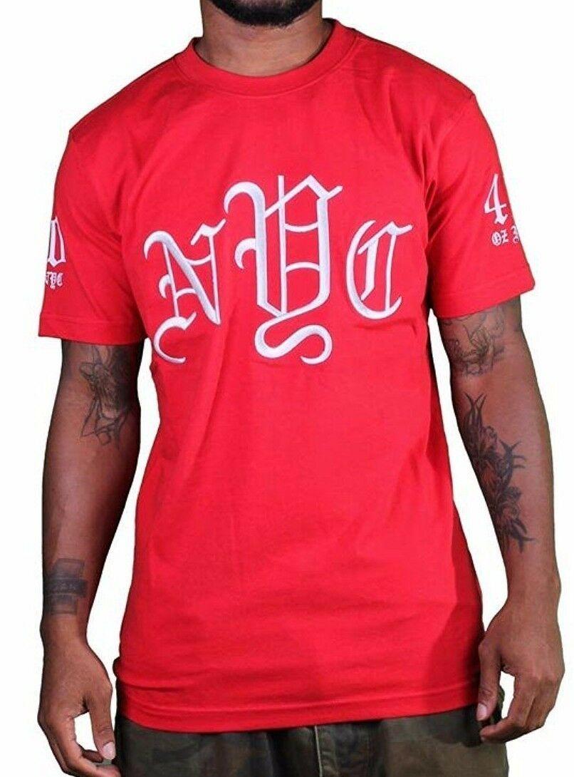 1183ml Vierzig Ounce Alt Englisch New York Nyc Bestickt Rot T-Shirt