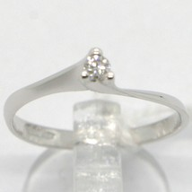 WHITE GOLD RING 750 18K, SOLITAIRE WITH DIAMOND CARAT 0.05, CRISS CROSSED, ITALY image 1