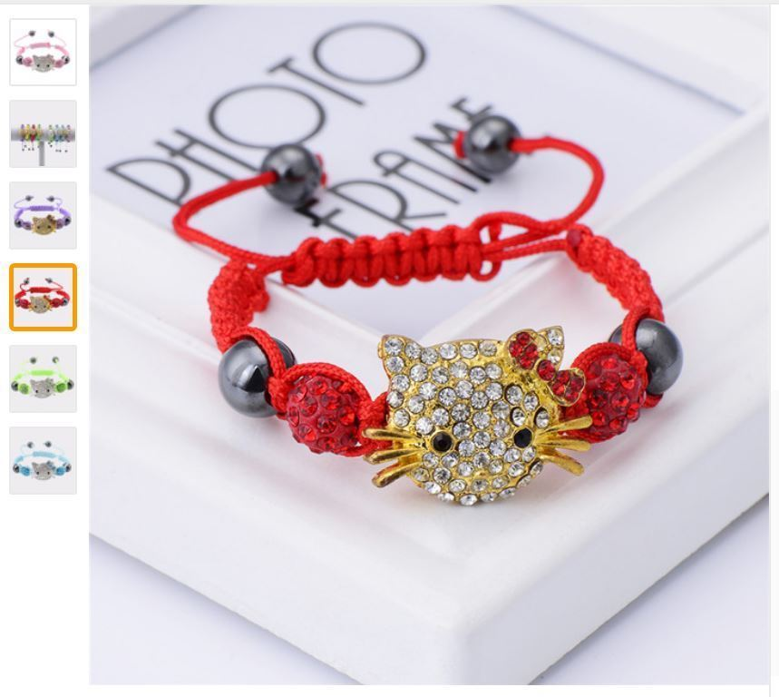 Primary image for Handmade Cute Children Cat Hello Kitty Bracelet for Kids Girls Boys Beads braid