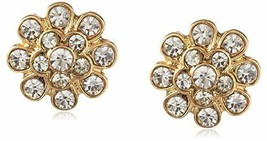 New Cohesive Jewels Gold Plated Floral Cubic Zirconia Crystal Stud Earrings NWT