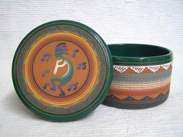 Native American Navajo Red Clay Large Round Jewelry Box with Kokopelli - $110.00
