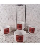 Campfire Coffee Mugs Set of 4 With Metal Rack Holder - $26.68