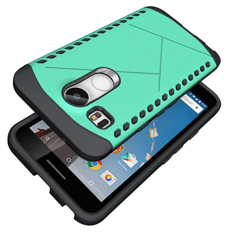 Hybrid Dual Layer Rugged ShockProof Protective Case Cover For LG Nexus 5X - Cyan