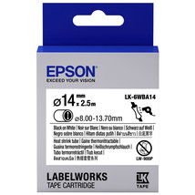 14mm Black on White - Epson LK-6WBA14 Heat Shrink Tube Tape Cartridges (... - $82.99