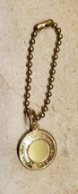 COACH EMBOSSED ROUND DISC GOLD BRASS KEY FOB BAG CHARM KEYCHAIN HANGTAG TAG - $10.88