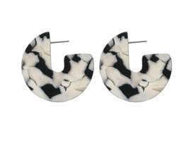 Resin Hoops earrings Moon Monochrome Tortoiseshell Fashion Jewellery + G... - $14.94