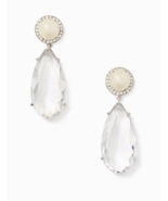 Kate Spade Glitz and Glam Drop Earrings Crystal Pearl Pave Statement Clear White - $49.49