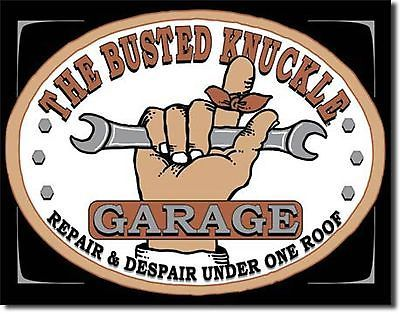 Busted Knuckle Garage Wrench Man Cave Metal Sign Tin New Vintage Style USA #980