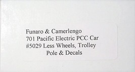 Funaro & Camerlengo HO Pacific Electric PCC Car ONE PIECE BODY,non-powered kit 7 image 3