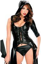 Women Faux Black Leather Punk Gothic Dress Lace up Catsuit Hooded Grim Reaper Co image 4