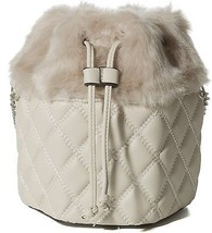 Handbag Republic Womens Fluffy Fur Purse Quilted Design Bucket Bag Cros... - $76.68