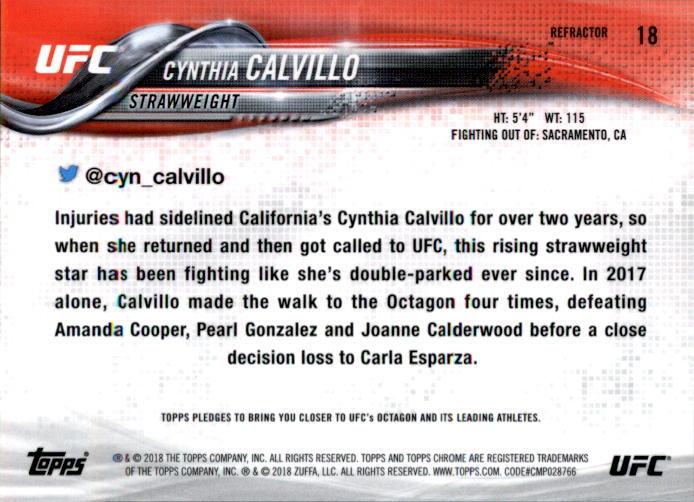 Cynthia Calvillo 2018 Topps Chrome UFC Refractor Card #18