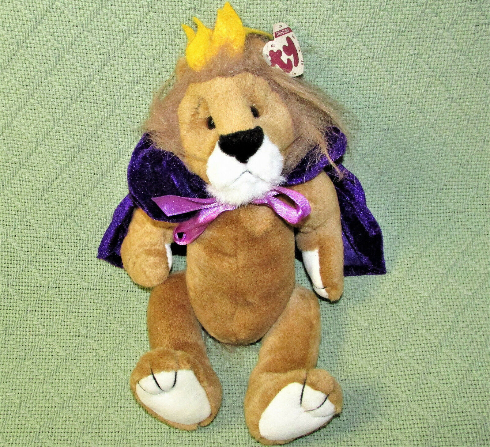 "VINTAGE TY SIRE LION KING 12"" JOINTED PLUSH + HEART TAG BROWN PURPLE MANTLE CAPE"
