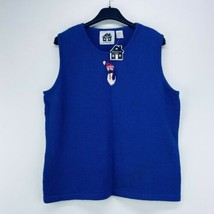 Storybook Knits Large Sweater Vest Sleeveless Blue Snowman NWT - $19.99