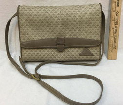 Liz Claiborne Purse Bag Triangle Design Taupe Gray 1984 Vintage Leather & Canvas - $14.84