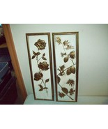 Vintage wall plaques Roses & Pine Cones Mid Century made in Holland beau... - $24.26