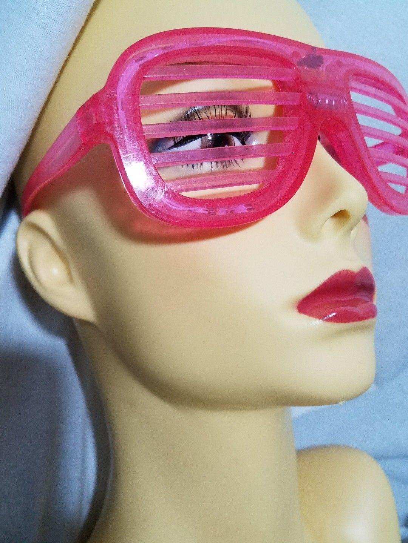 Pink Plastic Disco Light Up Glasses Three Settings Fun
