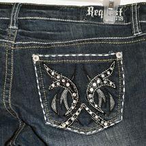 Request Women's Dark Blue Distressed Rhinestone Embellished Jeans Size 13/32 image 3