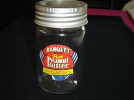Vintage Banquet peanut butter jar 1960 GUC - $9.99