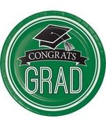 "Emerald Green Black 18 7"" Dessert Plates Value Size Graduation School Sp... - $5.69"