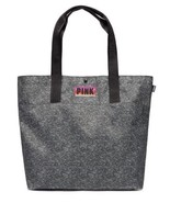 NEW VICTORIA'S SECRET PINK LARGE Black/ Grey MARLED WEEKENDER TOTE BAG S... - $32.67