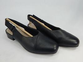 Clarks Juliet Pull Sz 8.5 M EU 39.5 Women's Leather Slingback Pumps Shoes Black - $39.59