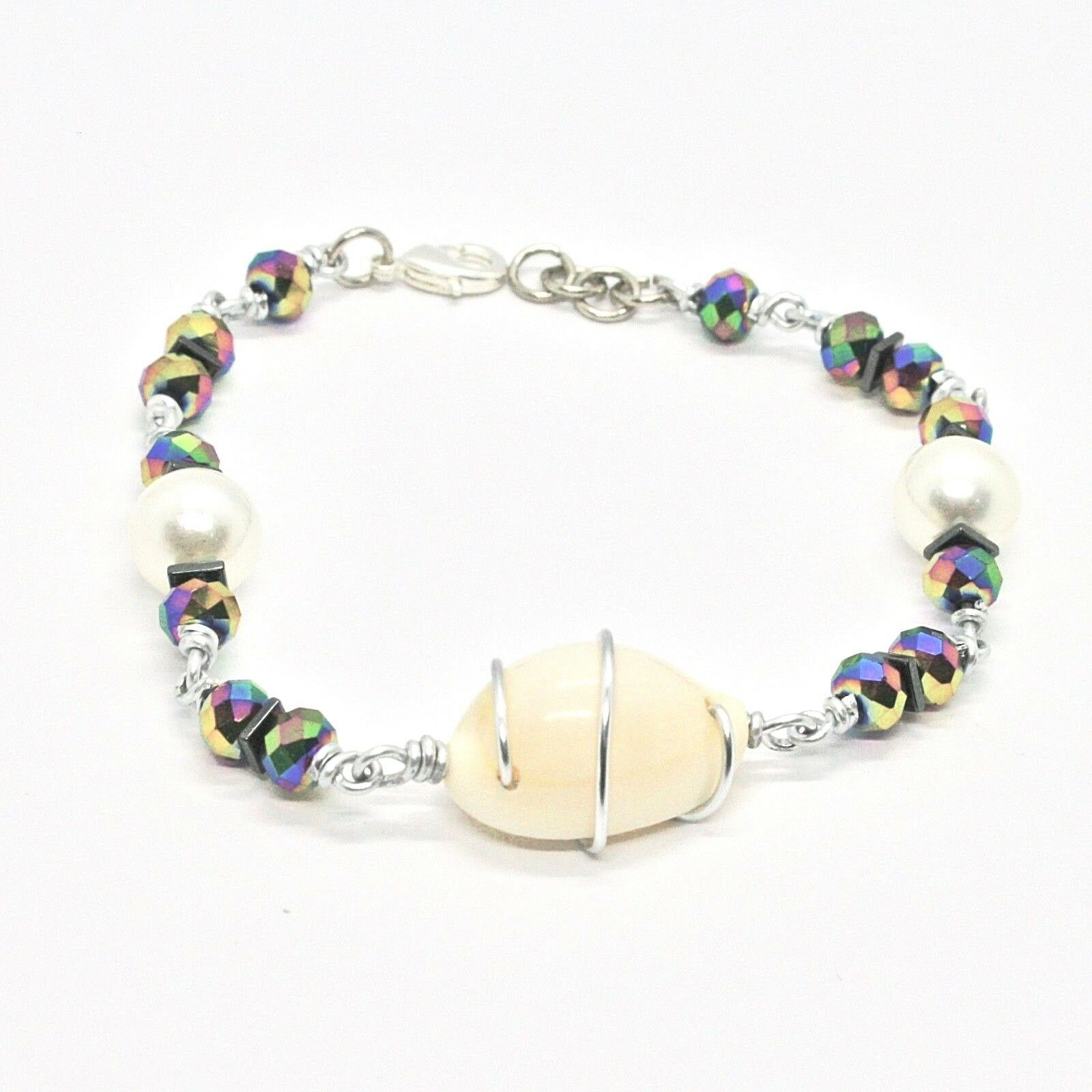 Bracelet the Aluminium Long 20 Inch with Shell Hematite & Pearl