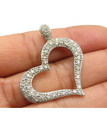 925 Sterling Silver - Vintage Pronged Cubic Zirconia Open Heart Pendant - P4234 - $36.98