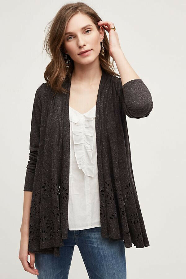 Primary image for Anthropologie Meadow Rue S Small Verna Cardigan Topper Eyelet Cut Out Brown