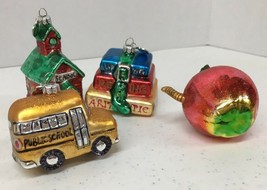 Department 56 Glass Ornaments School Bus Book Stack Apple with Worm School House - $12.99
