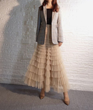 Deep Champagne Layered Tulle Skirt Outfit Long Tiered Tulle Skirt Plus Size  image 5