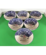 Thomson Pottery SNOWMAN Soup Cereal Bowl (s) LOT OF 6 Blue Speckles Chri... - $25.69