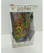 Harry Potter Hogwarts Crest 16 oz Clear Glass Tumbler Silver Buffalo Col... - $19.68