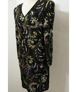 YVES ALLURE Dress Vintage 100% Silk Black Colorful Sequin Long Sleeve Tu... - $89.99