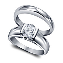 14K White Gold Plated 925 Silver Round Cut CZ Solitaire Wedding Bridal Ring Set - $74.81