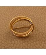 Double Oval Pin 18K Yellow Gold shiny & textured c 1960 NF - $495.00