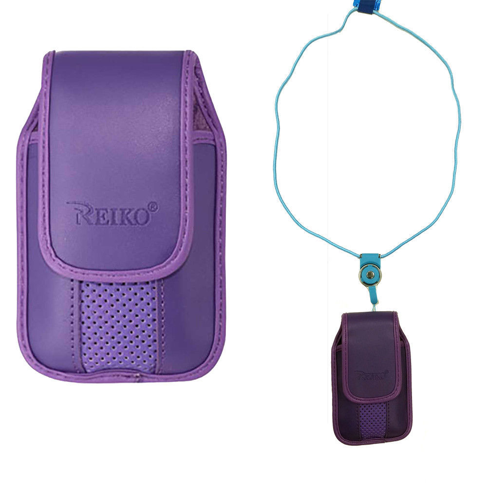 Primary image for Around the neck purple hanging case and lanyard fits Samsung Gusto 3