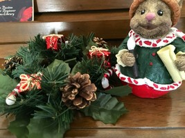 """Christmas Mouse 5"""" tall with wreath candle holder 7"""" Diameter Cute together - $8.00"""