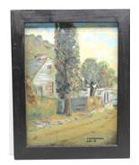 "Vintage 9 X 12"" Wood Framed Oil Village Street Scene F.B. Randall Hal K ... - $42.06"
