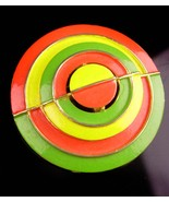 1960s Hippie Brooch - Orange Green Circle - pop art jewelry - designer jewelry - - $85.00