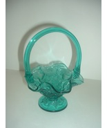 Signed Fenton Teal Glass Strawberries Pattern Footed Basket - $45.00