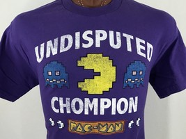 Pac-Man Undisputed Chompion Purple Graphic T Shirt 100% Cotton L - $10.97