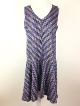 Maeve Anthropologie Sz M Westwater Knit Dress Purple Drop Waist Chevron ... - $37.15