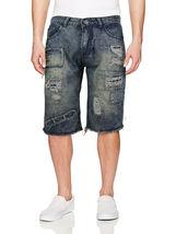LR Scoop Men's Moto Quilted Distressed Painted Skinny Slim Fit Jean Denim Shorts image 8