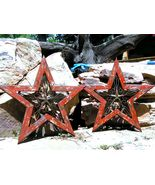 TWO Western Wall Stars Wood with Cast Iron 0368 0369 bz - $139.98